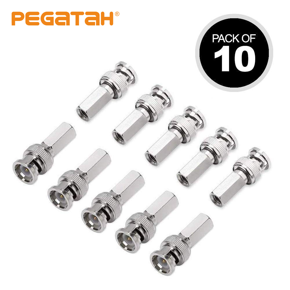 10PCS BNC Male Connectors Cable Adapters For RG59 Coaxial Cable BNC1A2 C63