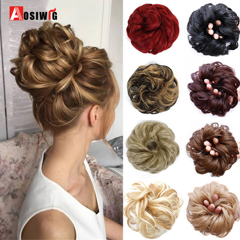 AOSIWIG Short Curly Chignons Hair Synthetic Hair Scruchies Rope Natural Fake Hair Bun Curly Clip In Hair Extensions