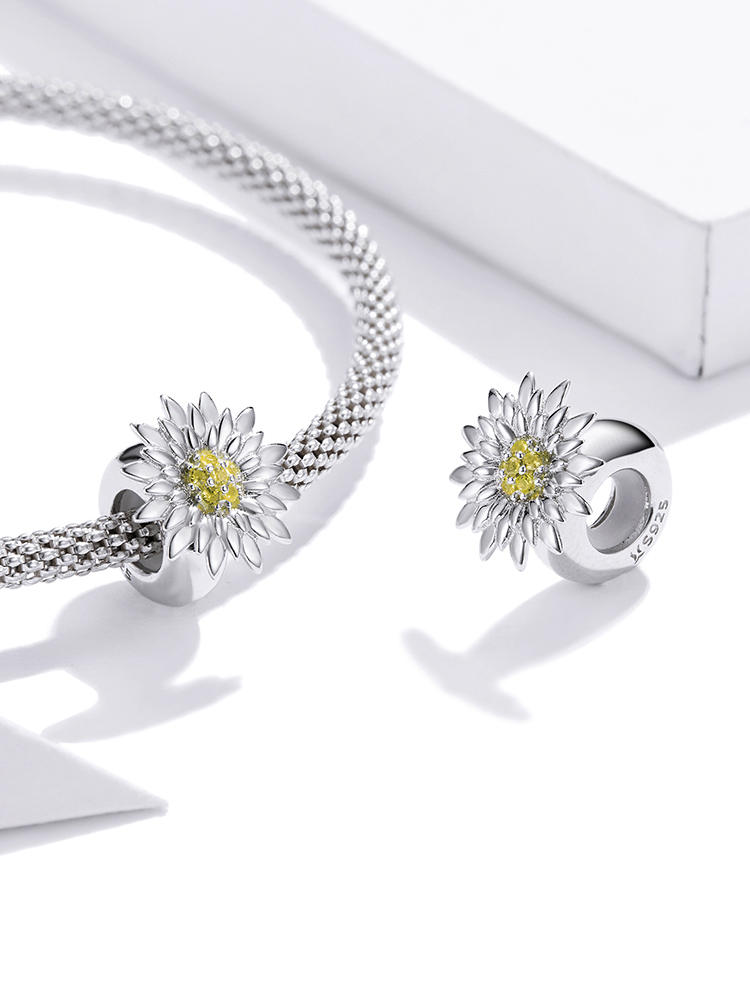 Bracelet DIY Necklace Charm Sunflower-Pendant-Flower WOSTU Jewelry 925-Sterling-Silver