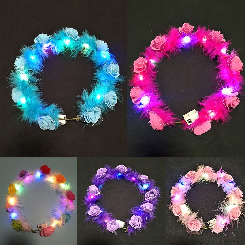 Female Children LED Light Up Wreath Crown Fluffy Feather Artificial Floral Angel Halo Headband Garland Bandana Festival Party