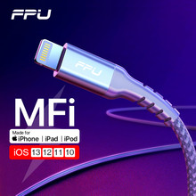 FPU MFi USB Lightning Cable for iPhone 11 Pro Max XR XS X Fast Charging Data Wire Cord for iPhone 8 7 6s Plus iPad Charger Cable кабель a data lightning usb для iphone ipad ipod 1м золотистый amfial 100cmk cgd