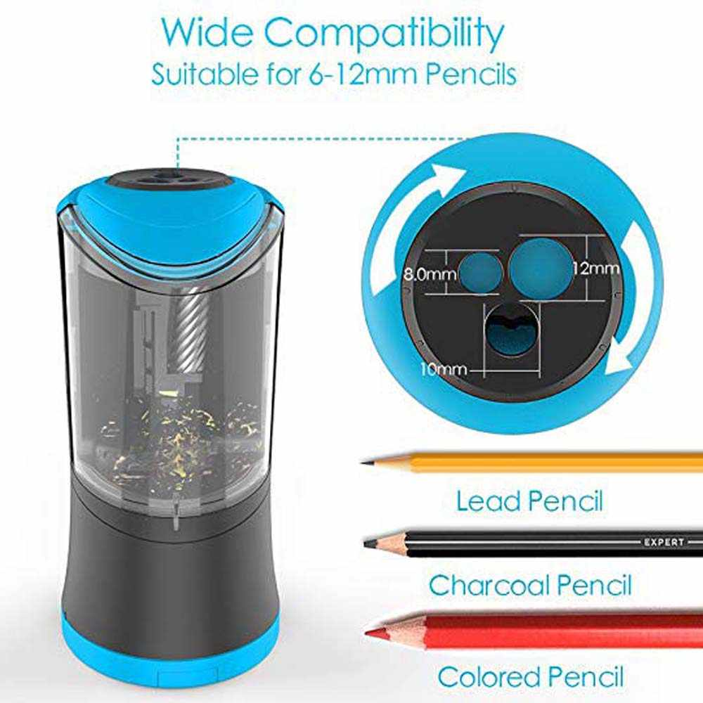USB /& Battery Operated with Extra Blade Refill 3 Adjustable Sharpening Modes White Sharpens Fast Portable and Safety Design for School Classroom Office Home Use DELI Electric Pencil Sharpener