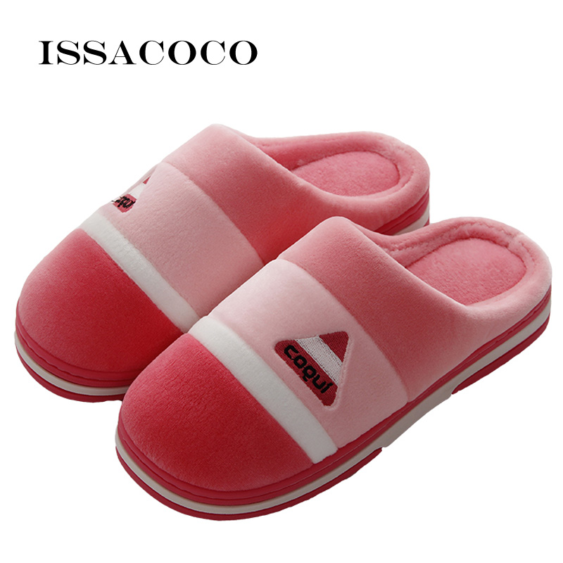 ISSACOCO House Slippers Women Winter Warm Lovers Home Furry Shoes For Bedroom Zapatillas
