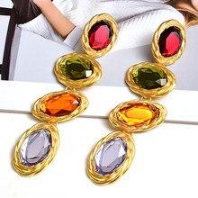 Boucles d'oreilles longues en métal doré pour femmes, strass colorés, tendance, cristal fin et clair, accessoires bijoux pour femmes, vente en gros