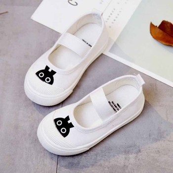 Kids Canvas Shoes Cartoon Boys Girls Cute Sneakers Flat Shoes Casual Leisure Baby Shoes Elastic Band Easy Wear