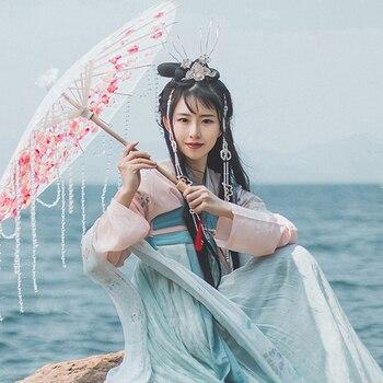 Chinese Ancient Fairy Dress Female Elegant Hanfu Traditional Tang Dynasty Suit China Folk Dance Performance Costume DQL1847