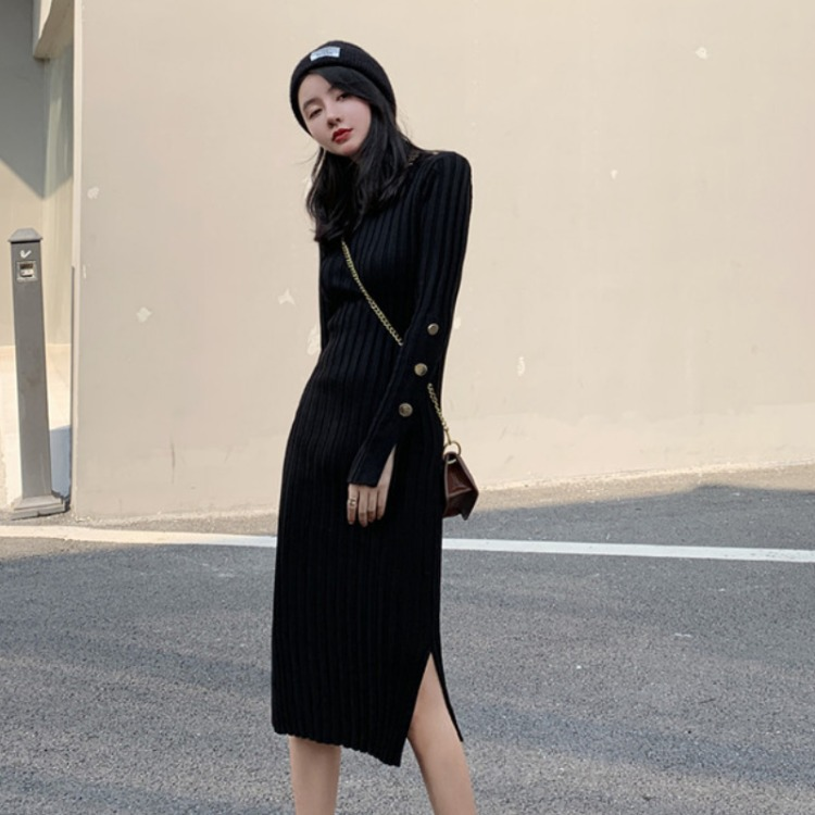 Autumn Clothing 2019 New Style WOMEN'S Dress Chao Wang Red Long Sweater Skirt Over-the-Knee Base Jersey Dress Women's Autumn And