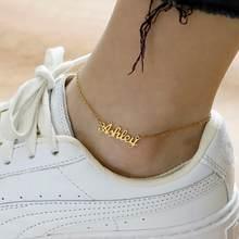 Tobillera con nombre personalizado para parejas, pulseras con placa de nombre de Color dorado, joyería de acero inoxidable