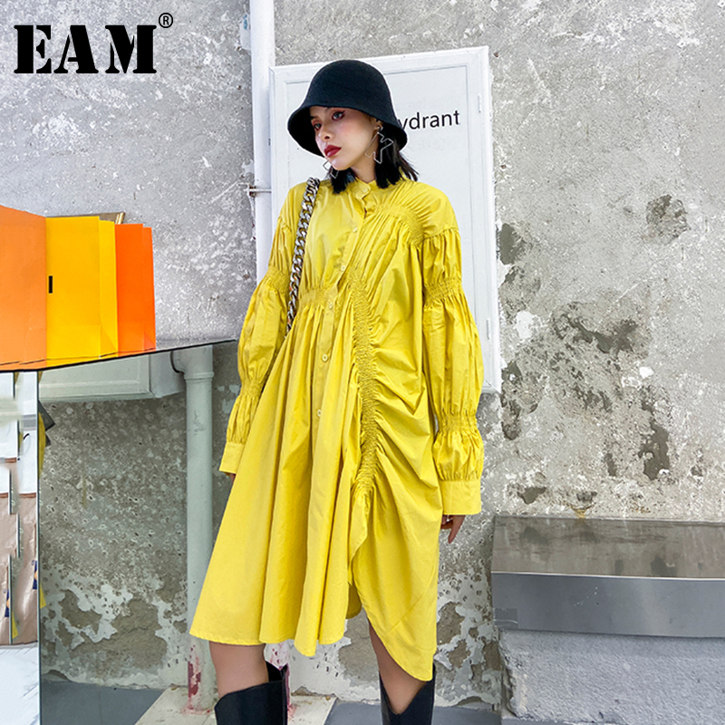 [EAM] Women Asymmetrical Pleated Big Size Dress New Stand Collar Long Sleeve Loose Fit Fashion Tide Spring Autumn 2020 1T169