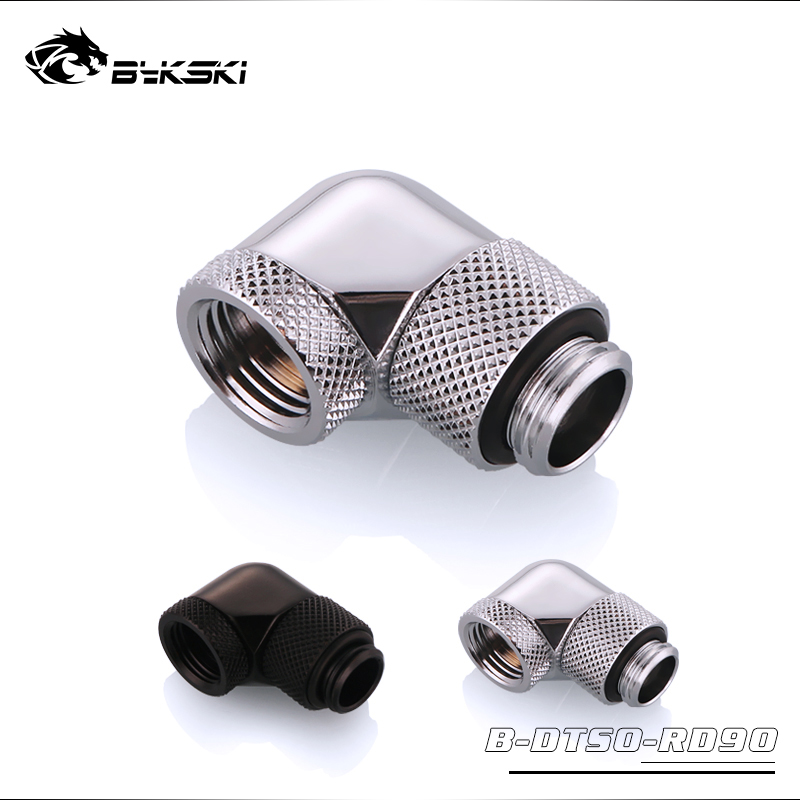 BYKSKI Acrylic Tube Fitting G1/4'' Thread 90 Degree Rotary Fitting Adapter Rotating 360 Degrees Rotary Water Cooling Accessories