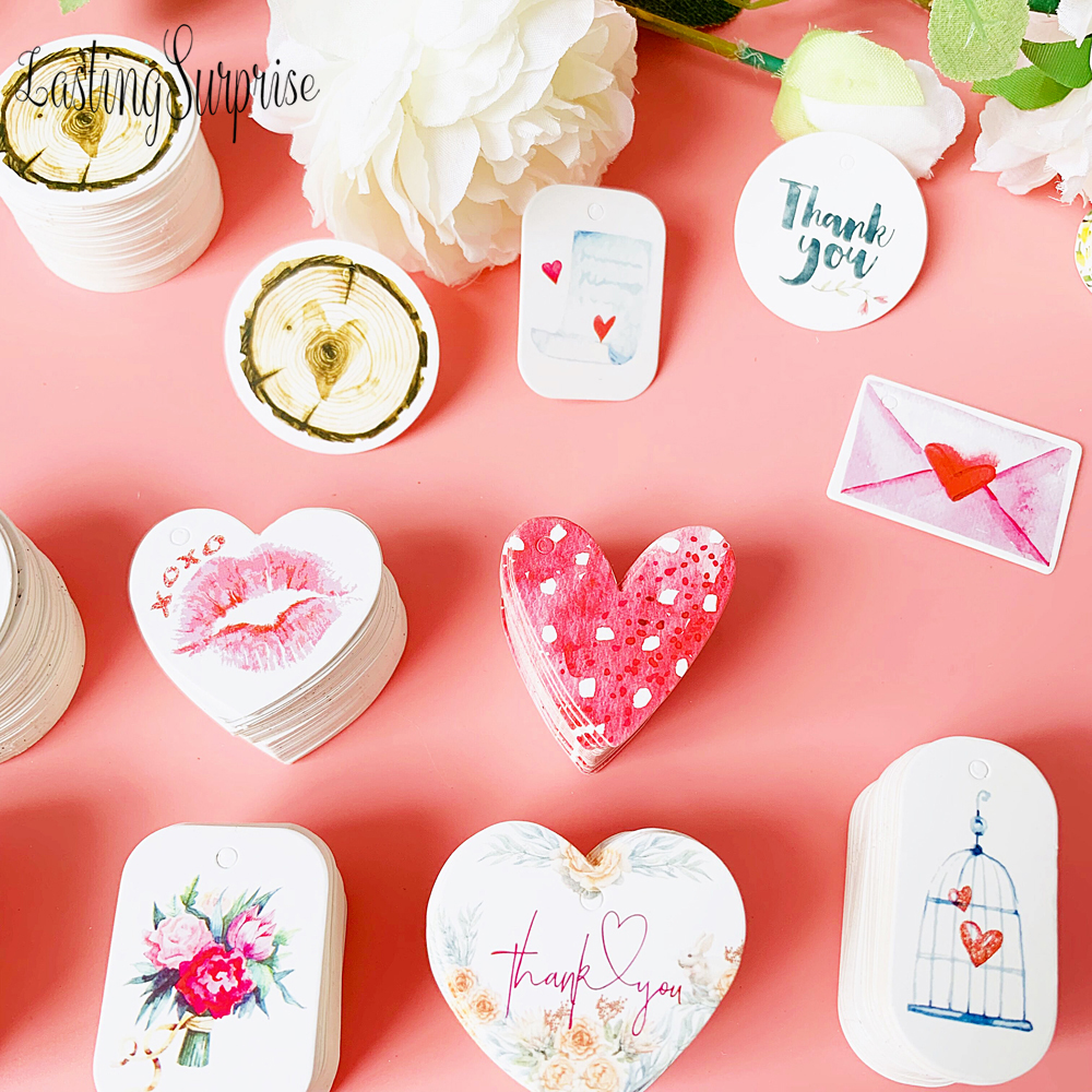 50pcs/Pack DIY Gift Paper Tags Heart Oval Shape Thank You Label Wedding Party Baking Paper Hang Tags Price Label Hang Tag Cards