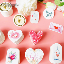 50pcs/Pack DIY Gift Paper Tags Heart Oval Shape Thank You Label Wedding Party Baking Hang Price Tag Cards