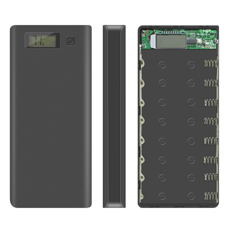 Dual USB 8*18650 Battery Holder Power Bank Battery Box Mobile Phone Charger DIY Shell Case With Quantity display For Xiaomi