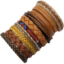 Fashion Punk Boho Yellow Leather Bracelet Men Homme Weave Wrap Bracelets for Women Jewelry Accesorios Mujer pulseira Bijoux 2019(China)