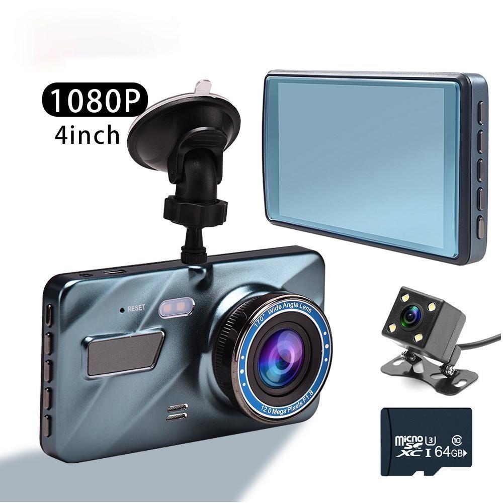 4 дюйма Видеорегистраторы для автомобилей тире Камера заднего вида Двойной объектив Full HD 1080P цикл Запись G-Сенсор Dash Cam Видео Регистраторы 2021 ...