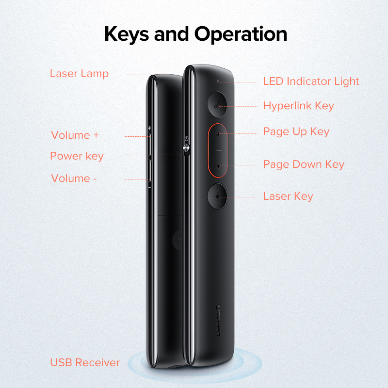 Ugreen Presenter Wireless Remote Controller 2,4 GHz USB Control Stift Für Mac Win 10 8 7 XP Projektor Powerpoint PPT laser Pointer