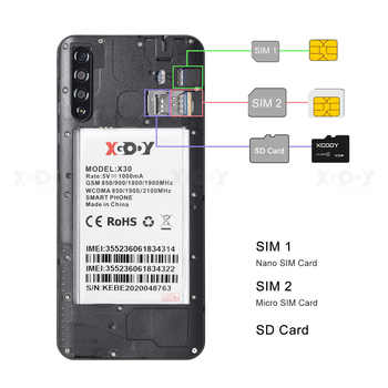 "XGODY 6.53\"" X30 Phone Smartphone Android 9.0 Waterdrop 2GB 16GB MT6580 Quad Core 3000mAh Dual SIM 5MP GPS WiFi 3G Mobile Phone"