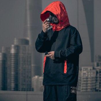 Teachwear Hooded Hip Hop Patchwork Hoodies Sweatshirts Men Letter Oversized Block Hit Color 100% Cotton Casual Pullover Hoodies