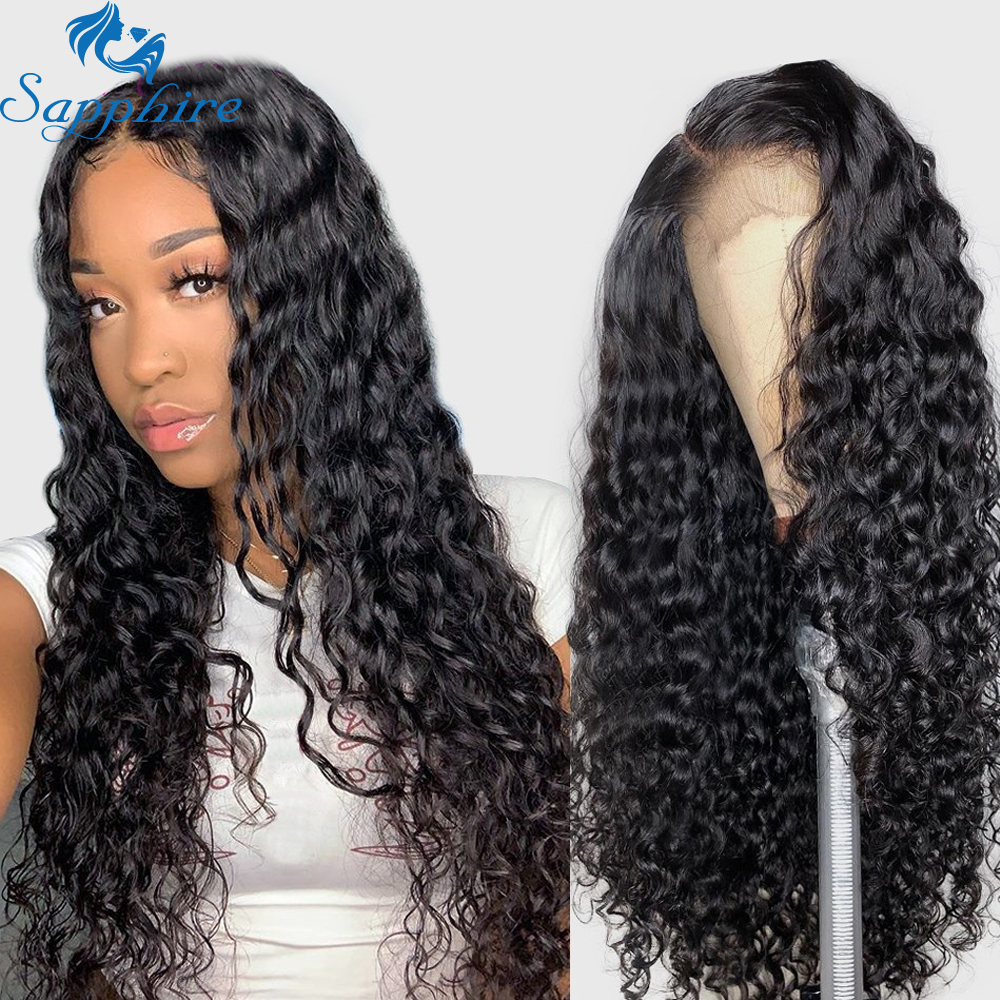 Sapphire Brazilian Water Wave Lace Front Human Hair Wigs For Women Full Ends Pre Plucked Brazilian Remy Curly Lace Frontal Wigs