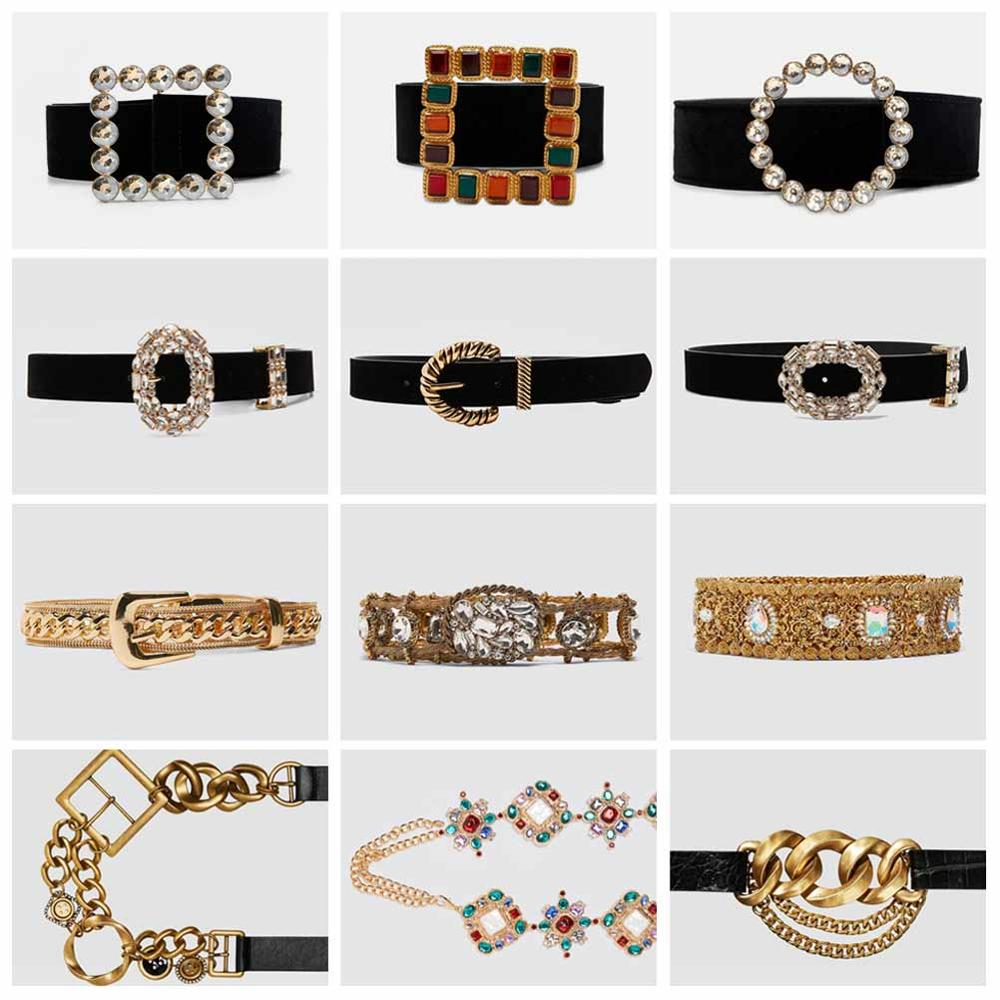 Girlgo 2019 Luxury PU Leather ZA Belt For Women Metal Maxi Charm Buckle Belly Chain Waist Party Jewelry Girl Gifts Wholesale