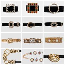 Girlgo 2020 Luxury PU Leather Belt for Women Metal Maxi Charm Buckle Belly Chain
