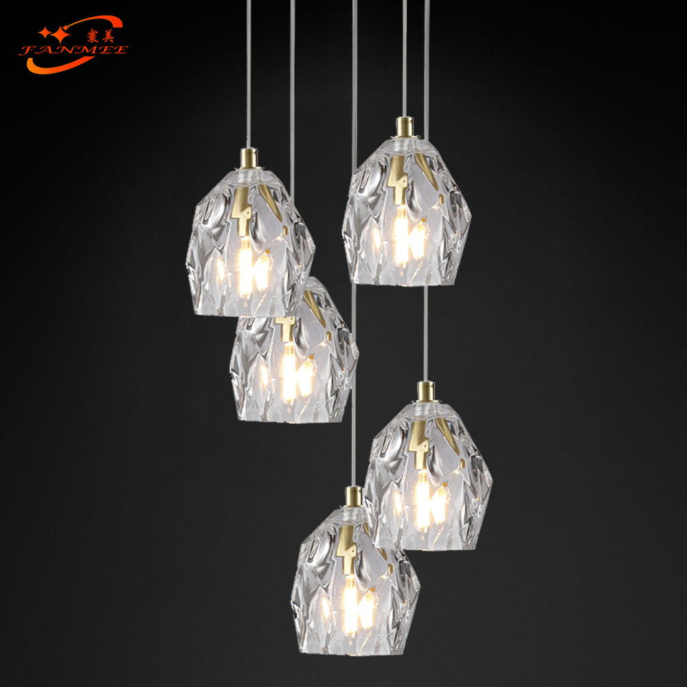 Modern LED Glass Chandelier Lighting Large Stair Hanging Lights Cristal Lamps For Living Dining Room Staircase Hotel Decoration