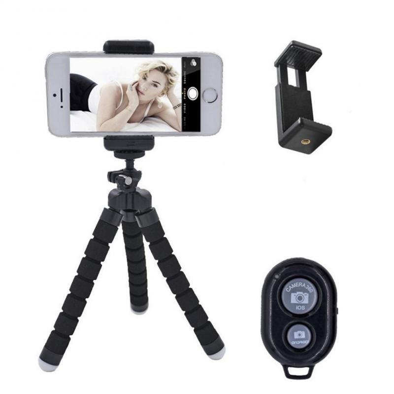 Universal Tripod With Bluetooth Remote Shutter For IPhone Mini Elastic Sponge Tripod Mobile Phone Tripod Monopod Holder Stand