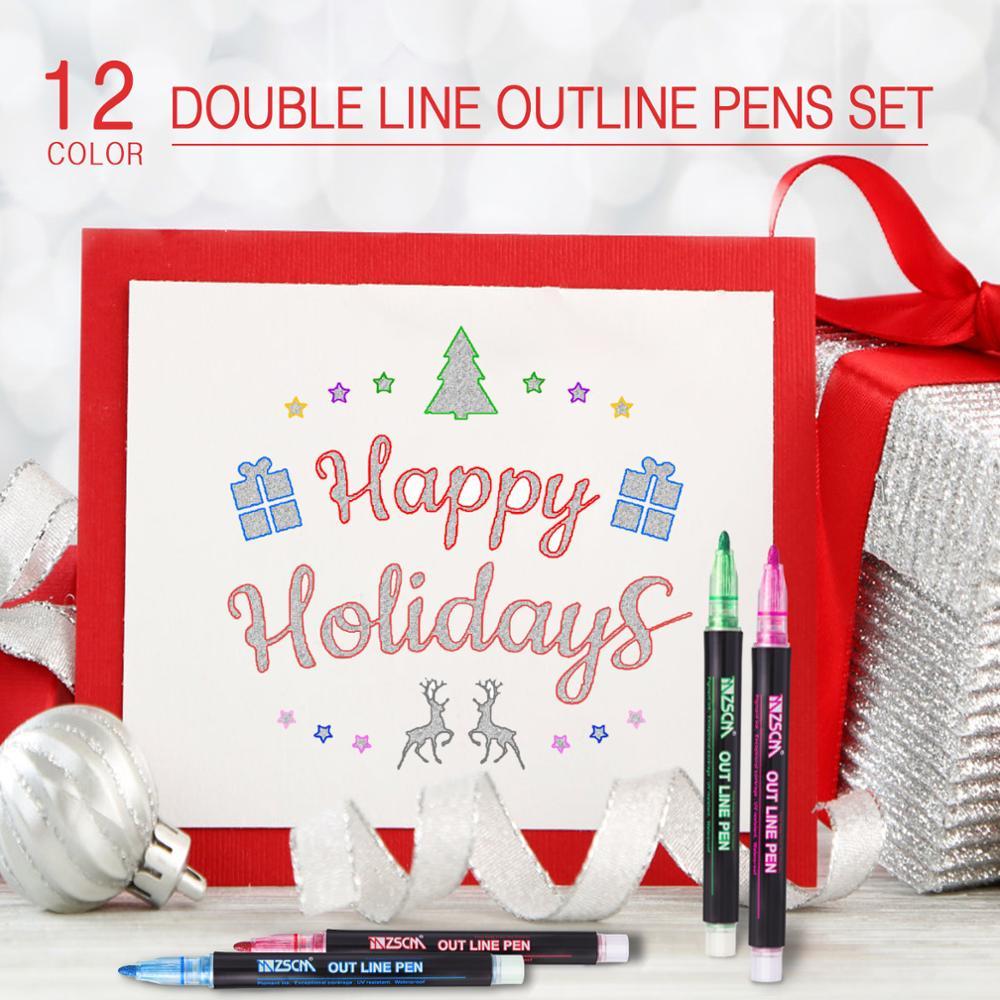 12pcs Double Lines Contour Color Art Pen Markers Pen Outline Markers Highlighter Scrapbooking For Bu