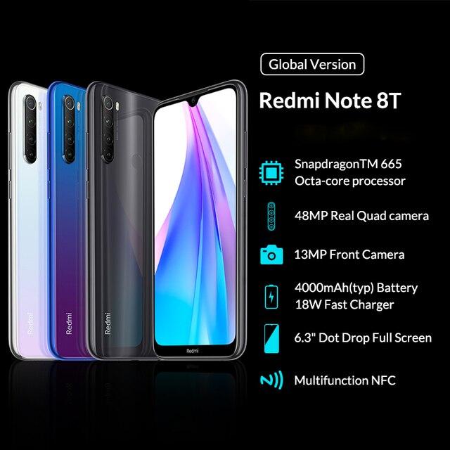 Global Version Xiaomi Redmi Note 8T 8 T 4GB 64GB Smartphone NFC Snapdragon 665 Octa Core 48MP Quad Cameras 4000mAh Big Battery