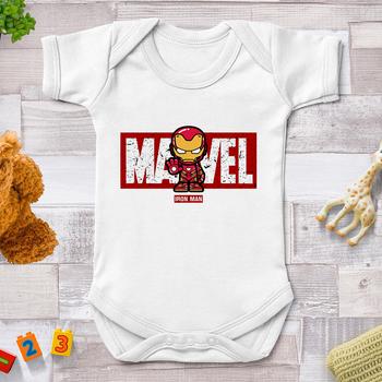 Noworodka ubrania dorywczo Harajuku Marvel Avengers Tony Stark Iron Man drukuj dziecko Romper z krótkim rękawem kombinezon dla malucha 0-24M tanie i dobre opinie Disney CN (pochodzenie) Unisex COTTON POLIESTER Aktywne W wieku 0-6m 7-12m 13-24m W stylu rysunkowym baby Z okrągłym kołnierzykiem