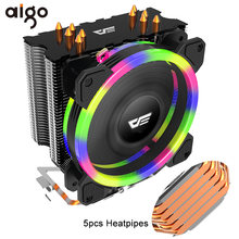 Aigo 5 heatpipes cpu cooler radiador led rgb tdp 280 w dissipador de calor amd intel silencioso 120mm 4pin pc cooler dissipador de calor ventilador(China)