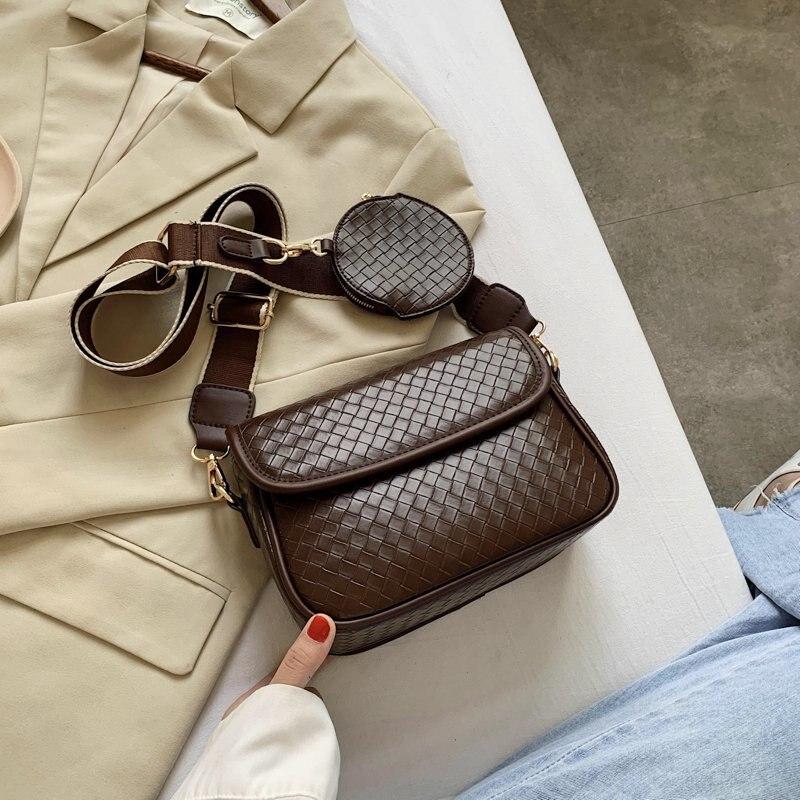 2020 модная сумка через плечо для женщин широкий ремешок PU кожаные кошельки и сумки Женская винтажная черная сумка через плечо с карманом|Сумки с ручками|   | АлиЭкспресс