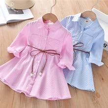 Children Dress Spring Summer Turn-Down Collar Kids Clothes Fashion toddler Baby Girls Clothing Summer Striped Dress Girl