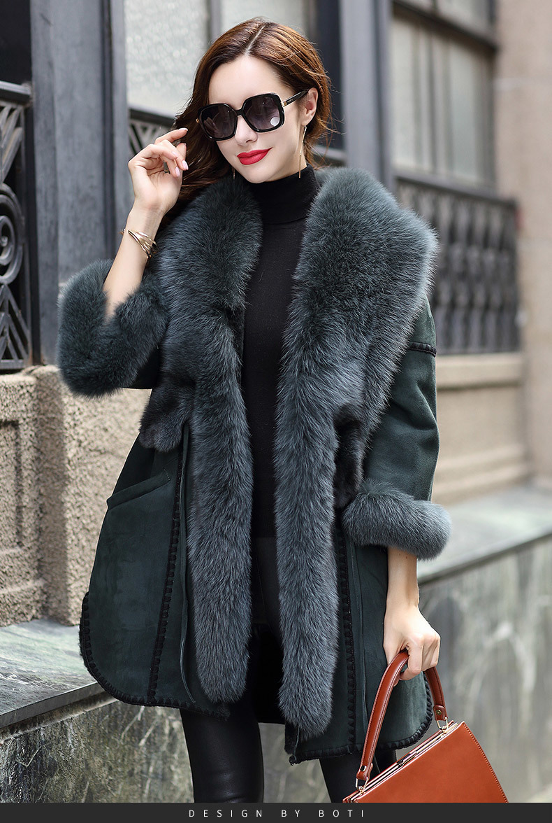 Fur Rabbit Real Coat Female Luxury Genuine Leather Jacket Winter Coat Women Fox Fur Collar Warm Oversized Jackets MY4408 S