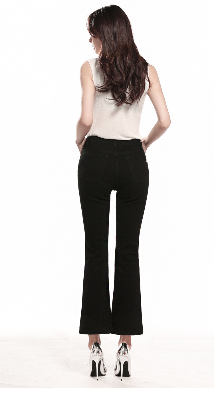 KSTUN FERZIGE  Womens Jeans Solid Black Blue Summer Thin Flare Pants Cropped High Waist Stretch Denim Pants for Yong Girls Fashoin 16