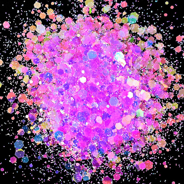 10G/Bag Holographic Mixed Hexagon Shape Chunky Nail Glitter Sequins Sparkly Flakes Slices Manicure Body/Eye/Face Glitter TCF2335 4