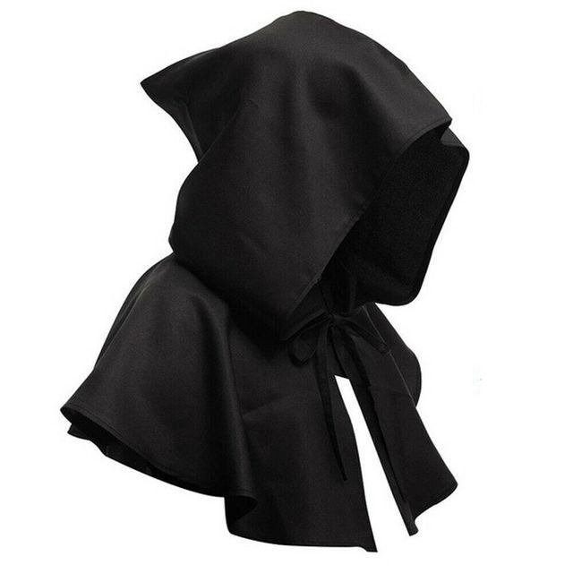 Moxeay negro de capa gótico capa para disfraz de Cosplay carnaval adulto Unisex Medieval Retro renacimiento sacerdote capa con capucha