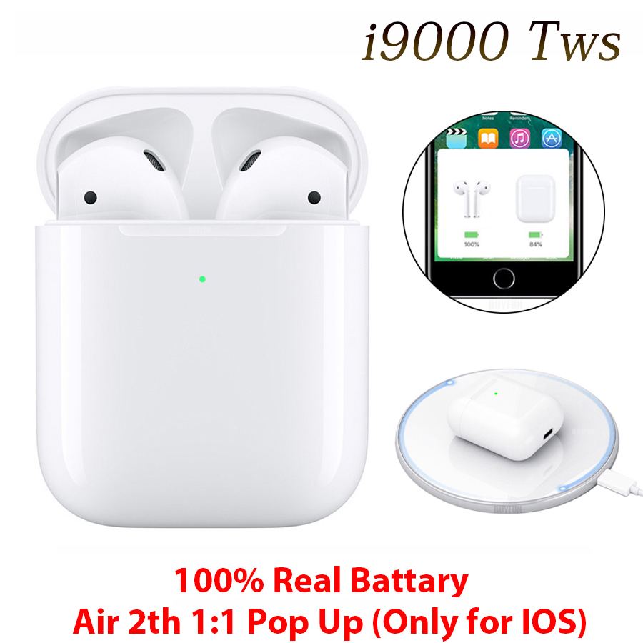 I9000 TWS 100% 3 Real Batter1:1 Replica With QI Wireless Charging Bluetooth 5.0 Earphone Sports Music Mini Earbuds For Xiaomi K20 Samsung M30s Huawei Mete 30 Not I2000 I200 I500tws