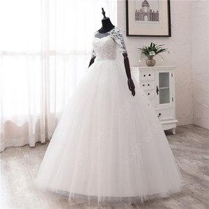 Image 4 - 간단한 오프 화이트 스위트 웨딩 드레스 섬세한 자수 아플리케 o 넥 신부 드레스 볼 가운 저렴한 플러스 사이즈 Vestido De Noiva
