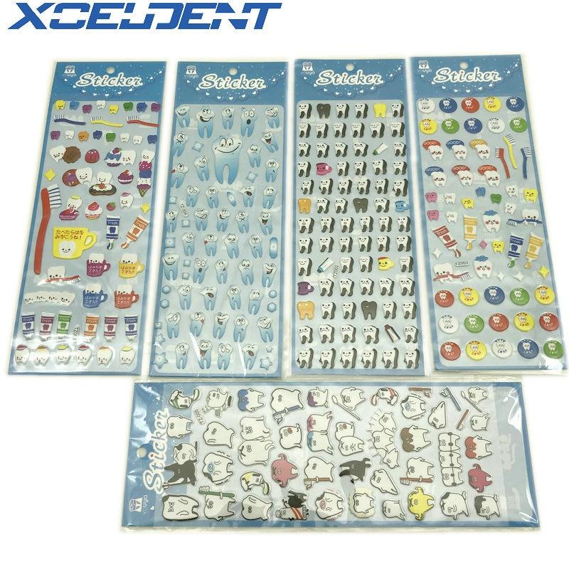 10pcs Dentist Gift Cute Molar Shaped Cartoon Teeth Tooth Fairy Puffy Plastic Sticker Kids Scrapbook For Dental Clinic 5 Types