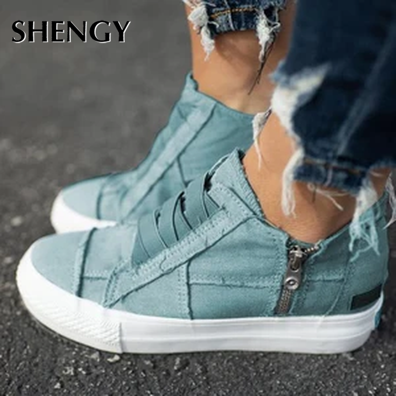 New Women Casual Shoes Woman Ladies Flat Canvas Student Vintage Girls 5CM Heels Travel Sneakers Dropshipping