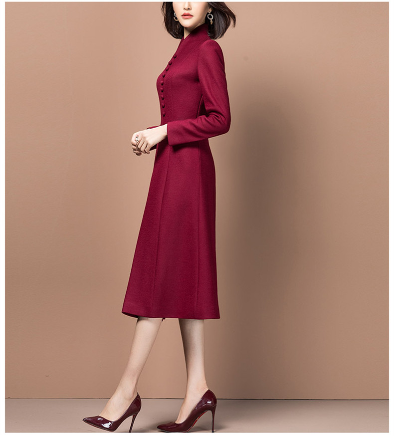 Autumn Spring Style Women A-line Vintage Elegant Vestidos woolen Dress Business Casual Office Party Dresses