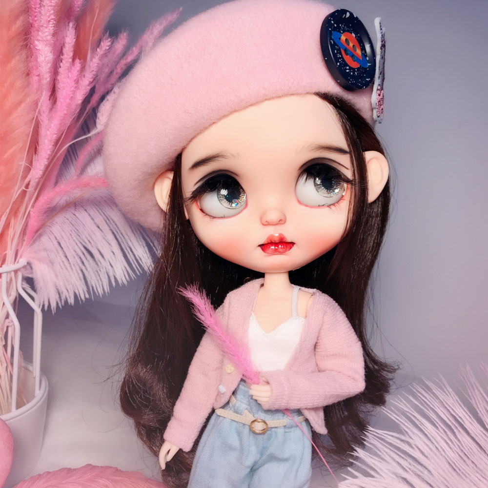 RBL Blyth Doll NBL 1/6 BJD Customized Frosted Face,big Eyes Fashion Girl Makeup Ball Jointed Doll With Black Hair