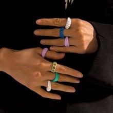 Neue Mode Bunte Tropft Öl Geometrische Kette Offene Ringe Set für Frauen Mädchen Süßigkeiten Farbe Hand-gemalt Knuckle Ringe schmuck