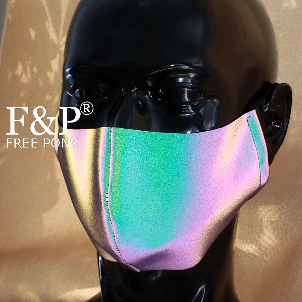 Holographic Reflective Rainbow EDM Dust Mask Bandeau  Festival Rave Face Mask