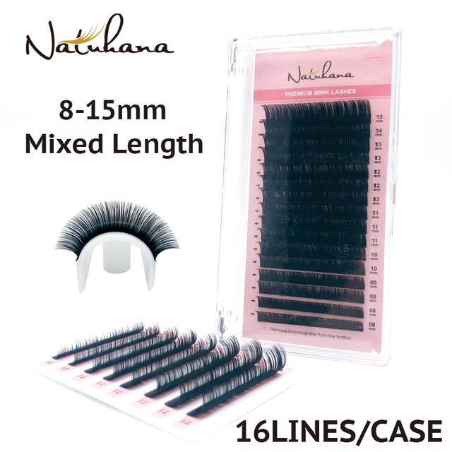 NATUHANA 16lines 8~15mm Mixed Eyelash Extension 100% Handmade Natural Soft False Lashes Wholesale Mink Fake Eyelashes Supplies