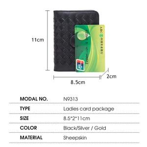 Image 4 - Мужской кошелек BISON DENIM из натуральной воловьей кожи, с отделением для кредитных карт, с ткацким дизайном, Роскошный кошелек для ID паспорта, N9313