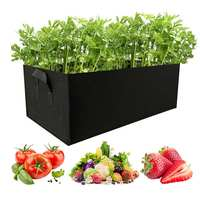 O retângulo preto cresce o saco cama de jardim anti corrosão ao ar livre plantador vegetal não tecido plântula galão árvore punho|Sacos crescimento|Casa e Jardim -