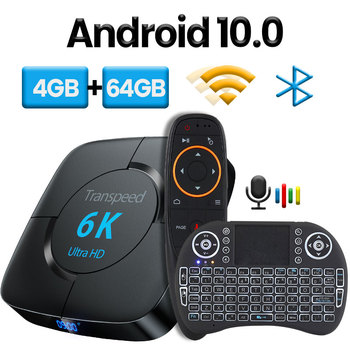Android 10.0 Bluetooth TV Box Google Voice Assistant  6K 3D Wifi 2.4G&5.8G 4GB RAM 64G Play Store Very Fast BoxTop Box