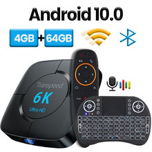صندوق تلفزيون Transpeed بنظام أندرويد 10.0 وبلوتوث, يأتي معه خاصية المساعد الصوتي لجوجل وإمكانية عرض بدقة 6K 3D وإتصال Wifi 2.4 4G&5.8G مع ذاكرة 4GB 64GB وبلاي ستور صندوق علوي سريع جدا